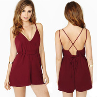 New 2014 Fashion Sexy Deep V Neck Short Rompers Women Backless Strap Chiffon Jumpsuit Playsuit,Trendy Women Clothing