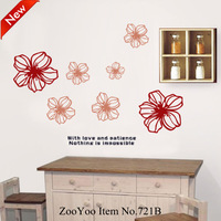 High Quality removable wallpaper murals crafts wall stickers home decor decals paper flower size 50*70 wall sticker