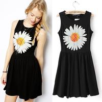 Free Shipping 2014 Europe Fashion Brand Women Dresses Large Sunflower Printing Sleeveless Cotton Pleated Dress Gray Black S M L