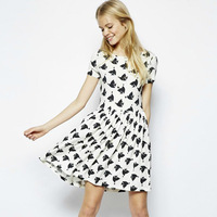 Shipping Time-limited Sale Natural None 2014 Europe Fashion Brand Women Dresses Birds Printing Chouzhe Short Sleeve Loose Dress