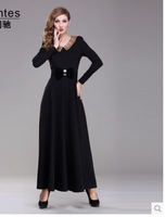 22014 New Women Black Red  Long Sleeve Beach Floor Length Dresses Autumn Maxi Elgent Dress  S-2XL Free Shipping