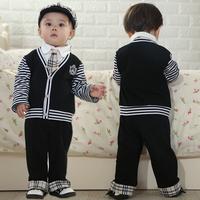 2014  Children's clothing  boy's long-sleeve piece set cap tie boy's suit 3pcs(long-sleeve + pants+cap) 3set/lot Free shipping