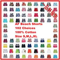 Summer 2014,Men's Fashion Casual Loose Print Plaid Short Pants,Qick Dry Beach Shorts,102 Patterns,Size S-XL,AFG102,Free Shipping