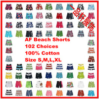Summer 2014,Men's Fashion Casual Loose Print Plaid Short Pants,Qick Dry Beach Shorts,102 Patterns,Size S-XL,AFG102,Free Shipping