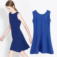 Fashion new arrival 2014 style summer one-piece dress brief racerback slim sleeveless tank dress