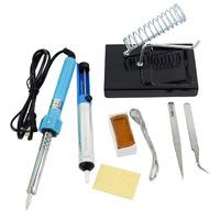 60W 7in1 DIY Welding Solder Soldering Iron Starter Kit Set Iron Stand Solder Desoldering Pump pen Electronic Tool TK1001