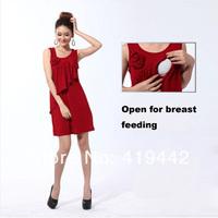 2014 new nursing clothing fashion summer vest design nursing one-piece dress breast feeding formal dress