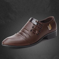 2013 men Dress leather shoes summer man business wedding casual shoes lace up point breathable flat shoes