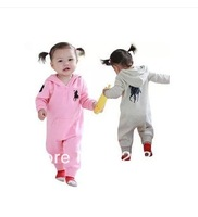 Free shipping New Fashion POLO hooded 2 color The long sleeves, garments,nova cotton peppa pig kids tracksuit for girl YD11