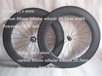 Top material Bicycle wheelset,carbon 88mm tubular wheels with straight pull Powerway R36 hub