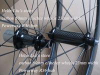 23mm width 50mm carbon fiber road bike clincher wheels with Powerway R36 carbon hub