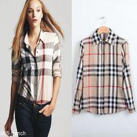 Free shipping 2014 Spring Women's Plaid Shirts Long Sleeve European Style Elegant Blouse Formal Cotton Shirt Plus Size Top