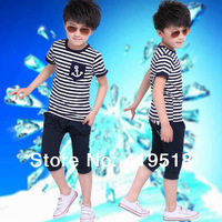 New 2014 Children Kids Boys Summer Set Boy's Clothing Set For 3-13 Years tracksuits for children 2 Pics
