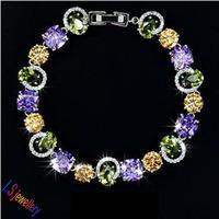 Party Jewlery for Permanent Light Multicolor AAA+ Swiss Cubic Zirconia Stone Beautiful Bracelet
