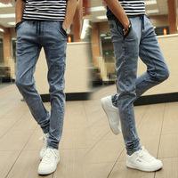 .NEW Spring Summer style Korean Slim / zipper men's jeans / fashion s casual cotton pants feet