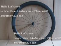 Toray T700 carbon wheels,Road 50mm tubular wheelset 23mm width with Powerway R36 hub