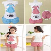 Retail+Free shipping New 2014 Children girls short-sleeve pants suit,kids clothing set (T-shirt+short pants),Fashion causal wear