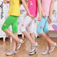 2014 summer new children's clothing girls thin elastic cotton pants capris 4T-14