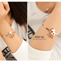 Freeshipping fashion classic style rosegold lovely horse design stainless steel bracelet