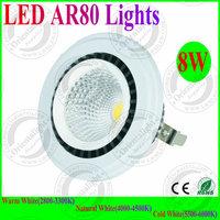 4pcs/lot New Design 8W LED AR80 Lights G53 Base DC12V LED Spot Lights 3 Years Warranty Supermarket ,Warehouse indoor Lamp