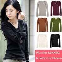 M-4XL Plus Size 6 Colors Woman T-shirt Basic All-Match Slim V-neck T Shirt Tops for Woman Clothing