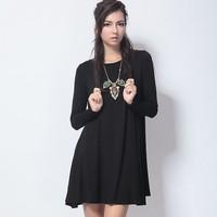 Spring fashion women's 2013 big round swing basic shirt modal one-piece dress long-sleeve all-match
