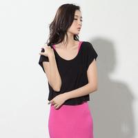 New 2014 Free Shipping Fashion 2013 women's summer small short-sleeve shirt modal pocket short loose t-shirt o-neck