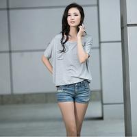 New 2014 Free Shipping Fashion plus size t-shirt pocket loose t-shirt short-sleeve o-neck shirt modal t-shirt