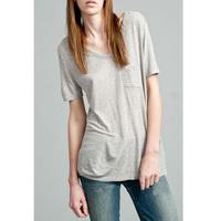 Free Shipping Fashion h V-neck loose solid color short-sleeve T-shirt female basic shirt modal