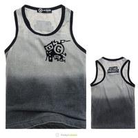 New 2014 Children's Gray Sleeveless Tee Shirts Boys High Quality Fashion 100% Cotton Gradient T Shirts 5 Pcs/Lot Free Shipping