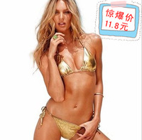 Women 2014 new arrival sexy fashion bikinis set swimwear female sexy gold bronzier triangle swimwear set