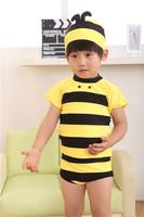 New 2014 HOT Cool Bee Children Love Beach Swimsuit Boys Baby Swimwear Kids One Piece Summer Beachwear 5pieces/lot