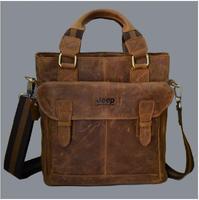 Brand  Crazy Horse Genuine Leather handbags Vintage Fashion men shoulder messenger bags Business Briefcase Available for A4