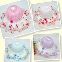 2014 Free shipping New Summer Children flower hat baby girls Lace hat Sun hat Straw hat fashion 4pcs/lot