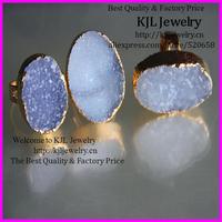 free ship! 5pcs of Gold 24 kt. Plated Druzy quartz Bezel Ring , fine druzy gemstone Findings, gold plated druzy ring