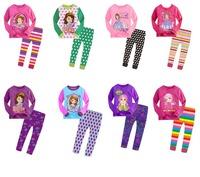Retail free shipping 2014 new fashion girl pajamas sets cotton princess casual pajamas children clothing full sleeve 2pcs set
