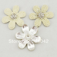 2014 new arrival 40mm Bling Pearl Button Alloy Metal rhinestone Buttons Flat Back bride hair shoes dress accessories 120pcs/lot