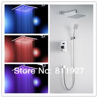 12 inch brass bathroom rainfall led shower faucet mixer tap set with copper shower head Home Improvement Kitchen & Bath Fixtures