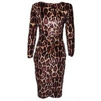 2014 Lady's Sexy Elegant Evening Party Clubwear Dress Leopard Charming Tunic Slim Bodycon Dress Clothing Plus Size XXL 653904