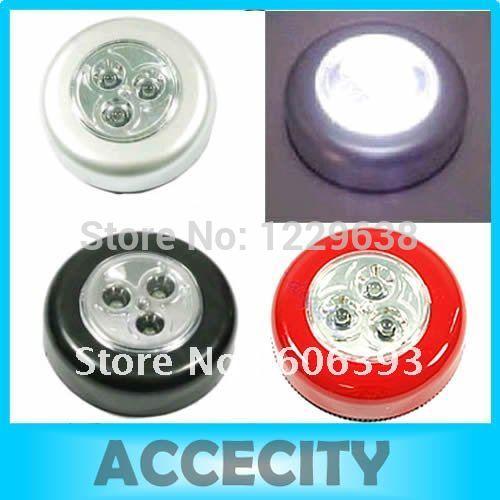 "S105""Free shipping 3pcs/lot 3 LED Cordless Stick Tap Wardrobe Touch Light Lamp Battery Powered(China (Mainland))"