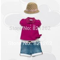 2014 new children clothing girls clothing set short sleeve t-shirt+shorts jeans denim Brand fashion hot sale classic 2-7T no hat