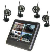 Home Digital 7 inch TFT Monitor 2.4G Wireless 4CH Quad DVR IR Night Camera CCTV Security  Camera System
