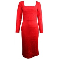 Spring Elegant Red Sexy Lady Crochet Bodycon Slim Lace Dress Square Collar Party Evening Pencil Dress Plus Size S,M,L,XL 654350