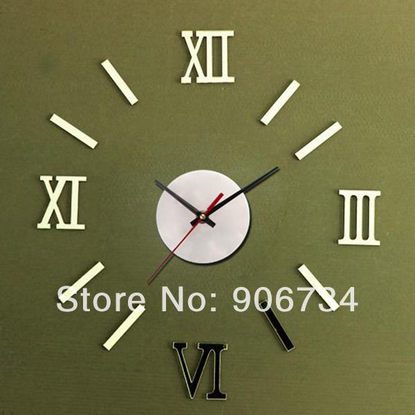 Décoration à la maison métallisé.- mollede 3d bricolage. drôle. horloge murale décorative design moderne de mode chiffre romain horloges murales