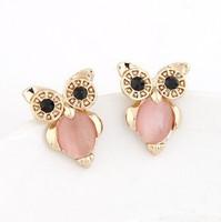 Han edition fashion metal owl personality stud earrings#110511111