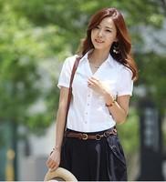 2014 new famous  casual chiffon short sleeve white shirt  women ol cotton lady blouse