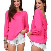 2014 fashion elegant plus size shirt all-match chiffon top shirt 928