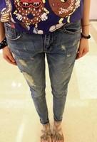 Skinny pants bf loose hole rivets jeans small harem pants women's trousers