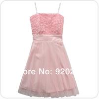 Hot Selling 2014 Fashion Sexy Cute Slim  Rose Gauze Plus Size Bra Strapless Short Bridesmaids Dress/Party Dresses  Z-LS0014