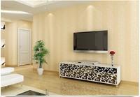 Modern brief non-woven wallpaper three-dimensional flock printing vertical stripe floral wallpaper